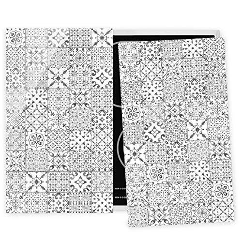 Bilderwelten Herdabdeckplatte Glas universal Induktionskochplatte Fliesen Grau Weiß 52 x 60cm