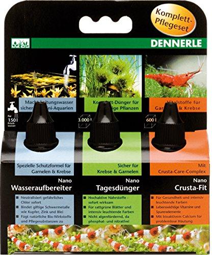 Dennerle Nano Set soins:engrais,condit,vitamines 3x15 ml