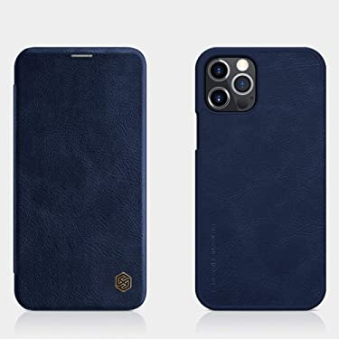 """Nillkin Case for Apple iPhone 12 / Apple iPhone 12 Pro (6.1"""" Inch) Qin Genuine Classic Leather Flip Folio + Card Slot Blue Color"""