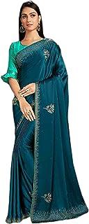 Designer Indian teal Cocktail Party Swarovski Embellished Saree Blouse Woman Sari 6584