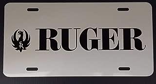 heigudan White Sturm Ruger Gun License Plate Tag with Black Logo Car Truck