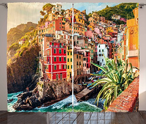 Ambesonne Italy Curtains, Riomaggiore at Sunset Cinque Terre National Park Cliff and Coast Scenic Panorama, Living Room Bedroom Window Drapes 2 Panel Set, 108' X 90', Brown Red