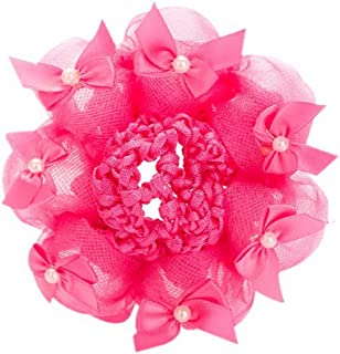 2-Pack Girl Bun Mesh Snood Ballet Dance Bow Tie Hair Net Hair Accessory Rose Red