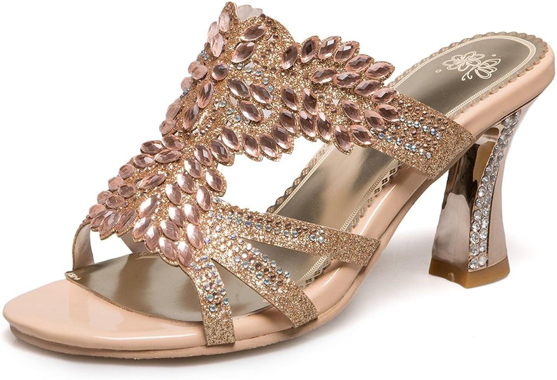 AIWEIYi Womens Peep Toe Rhinestone High Heel Sandals Slip on Slides Slippers Green