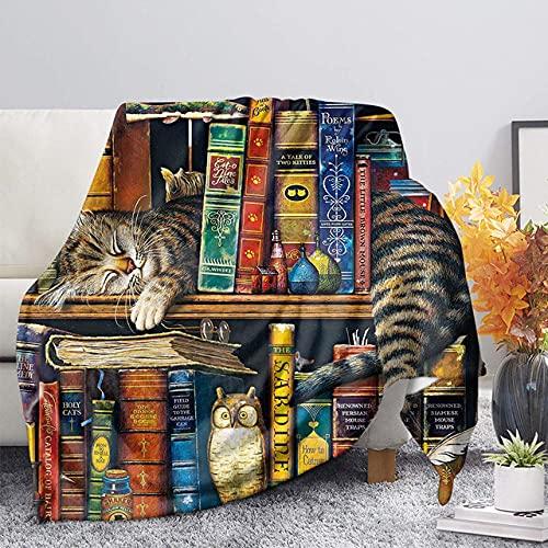 Bedsure Manta franela100x130cm Gato durmiendo en la estantería Manta cama100% Microfibra Extra Suave Cálido Mantas Colcha Sofa Adecuada para Niños y Adultos -S