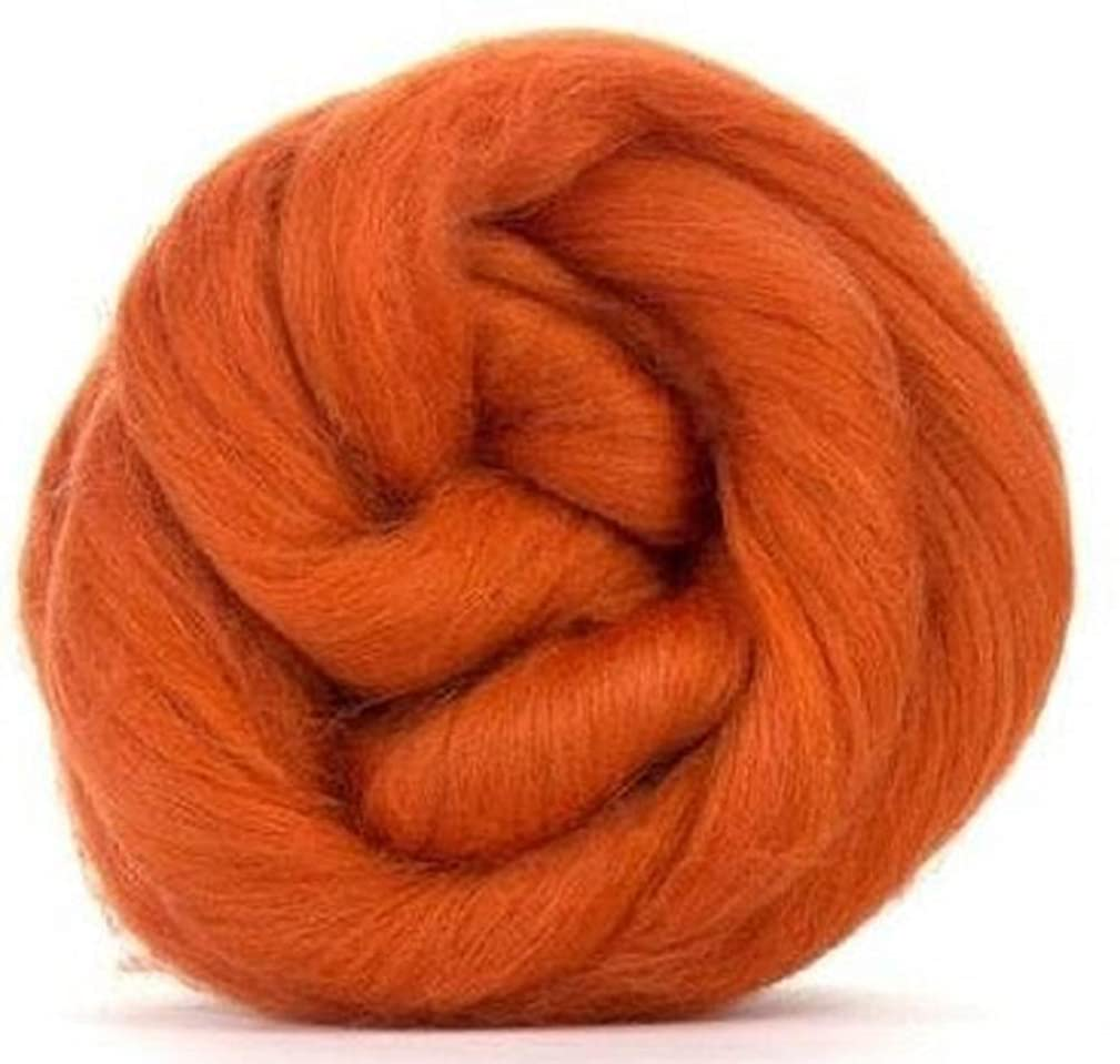 4 oz Paradise Fibers 64 Count Dyed Cinnamon (Orange) Merino Top Spinning Fiber Luxuriously Soft Wool Top Roving for Spinning with Spindle or Wheel, Felting, Blending and Weaving