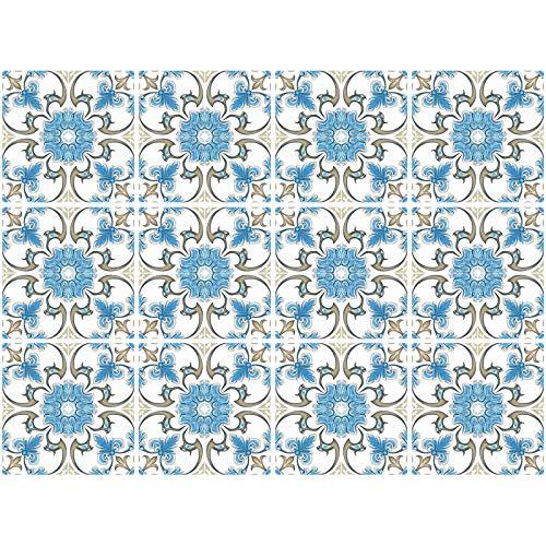 decalmile 12 Piezas Pegatinas de Azulejos 15x15cm Retro Azul Flor Adhesivo Decorativo para Azulejos Cocina Baño Decoración