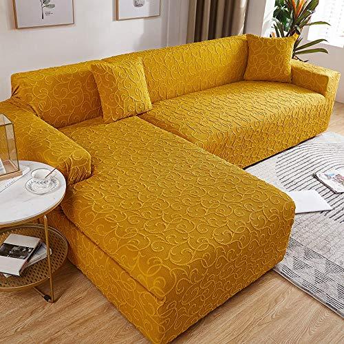 Fundas para Sofa Jacquard Amarillo Mostaza Cubre Sofa Spandex Estampadas Fundas Sofa Elasticas Universal Espesasfunda Sillon Verano Modernas Fundas para Sofa Chaise Longue 4 Plazas