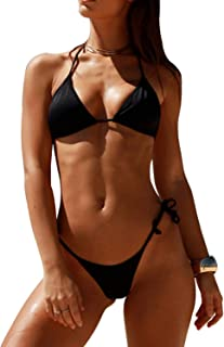 SHERRYLO 10 Solid Color Women's Thong Bikini Set String Swimsuit for S-XL Body