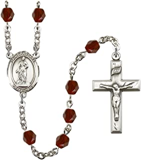18-Inch Rhodium Plated Necklace with 6mm Garnet Birthstone Beads and Sterling Silver Saint Isabella of Portugal Charm.