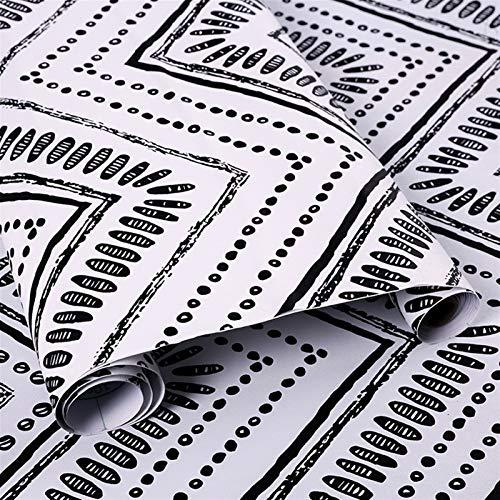 LIZHIOO Papel De Contacto En Blanco Y Negro 3D, Papel Pintado con Rayas Oval Autoadhesivo, Papel De Contacto Corrugado Geométrico Extraíble, Adecuado para Sala De Estar Decoración del Hogar Papel