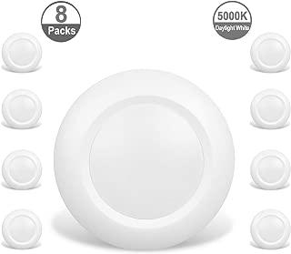 JULLISON 8 Packs 6 Inch LED Low Profile Recessed & Surface Mount Disk Light, Round, 15W, 900 Lumens, 5000K Daylight White, CRI80, Driverless Design, Dimmable, Energy Star, ETL Listed, White