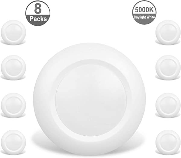 JULLISON 8 Packs 6 Inch LED Low Profile Recessed Surface Mount Disk Light Round 15W 900 Lumens 5000K Daylight White CRI80 Driverless Design Dimmable Energy Star ETL Listed White