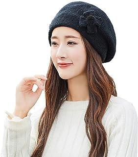 20dddc4d3 Femme Chapeau Beret Vintage Laine Mignon À La Mode Chic Bonnets Crochet en  Tricot Hiver Chaud