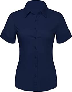 Button Down Shirts for Women, Fitted Short Sleeve Tailored Stretchy Material