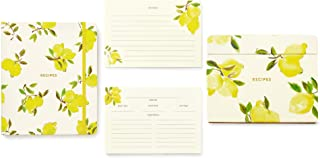 Kate Spade New York Bright Yellow Recipe Book with Labeled Sections, Recipe Box with Tab Dividers, and 80 Double Sided Recipe Cards, Lemon