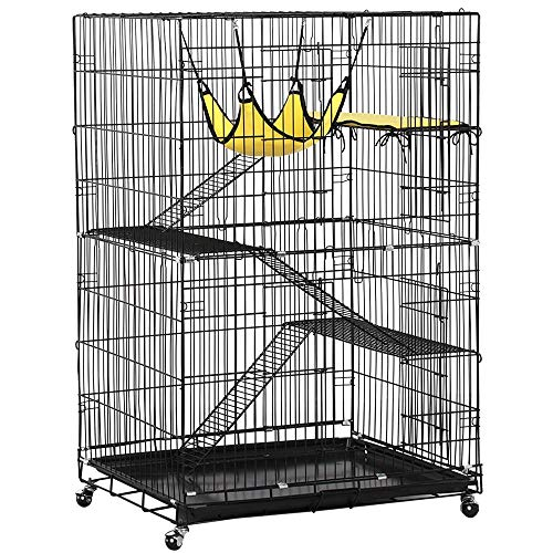 YAHEETECH Collapsible Large 3-Tier Metal Wire Pet Cat Kitten Ferret Chinchilla Cage Playpen Crate Enclosure Kennel Cat Home on Wheels Indoor Outdoor 3X Ramp Ladders/1x Hammock