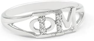 The Collegiate Standard Phi Mu Sorority Sterling Silver Ring with Czs