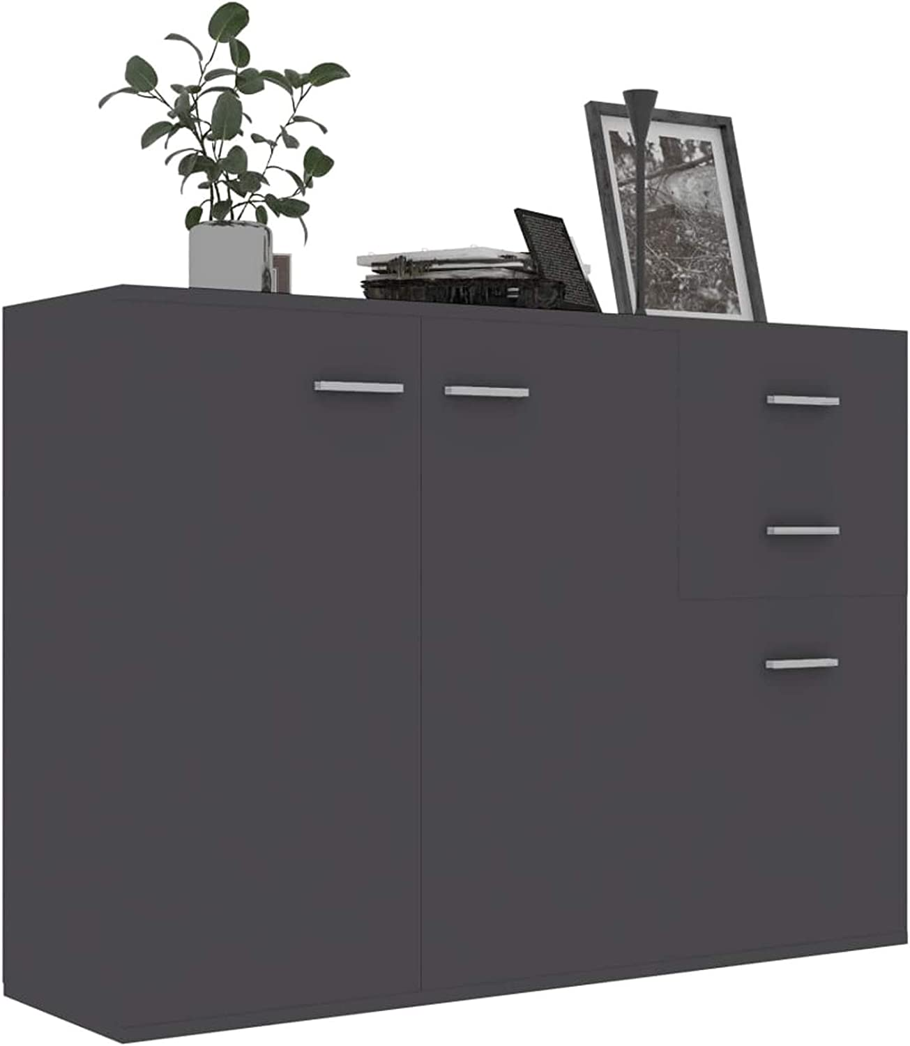 Festnight Modern Sideboard with 3 Storage Popular standard 2 Kansas City Mall and Door Drawers Cab