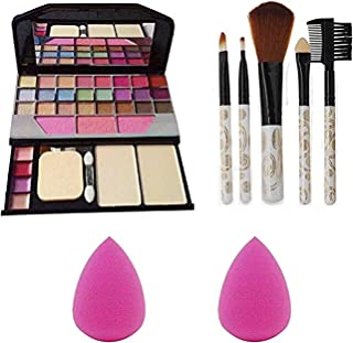 Womens and Girls TYA 6155 Multicolour Makeup Kit with 5 White Brushes & 2 Beauty Blenders - (Pack of 8)