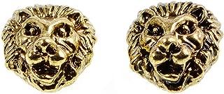 10pcs Solid Metal 12x12mm Lion Head, Vintage Gold