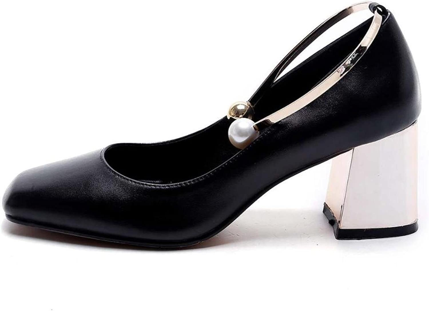 Fashion Party Wedding Thick High Heels Genuine Leather Pearl Metal Superstar Shallow Pumps Round Toe Women Brand shoes
