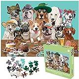 AICHUANGBAO- Puzzles für Erwachsene Kinder, Puzzle 1000 Teile, Familienspiele Puzzle, Dekompression der Erwachsenen, Kein Konfetti, Dicke 2mm, 70 * 50cm (Hundeparty)