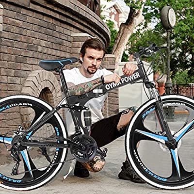 【US Fast Shipment】 Outroad Folding Mountain Bike, 26Inch Full Suspension Road Bike Adult Teen Racing Bicycle Commuter Bike with 21Speed Gears Dual Disc Brakes for Men Women Birthday Gift (Black)