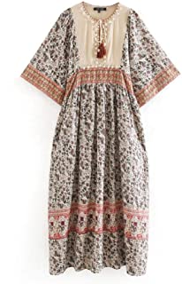 Nobrand Spring India Floral Print Patchwork Shell Deco Dresses Women Midi Clothing