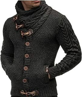 0fd0cd2ab086 dahuo suéter de Manga Larga para Hombre con Solapa, Abrigos, Chaqueta de  Cuello Alto