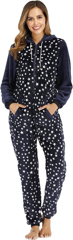 Misaky Women's Christmas Sleepwear Ultra Comfy Lounge Fleece Sherpa Romper Onesie Pajamas Cute Ear Hood