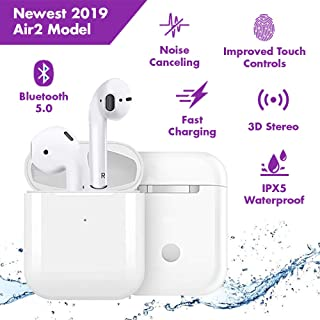Wireless Earbuds Bluetooth 5.0 Noise Canceling Sports Headphones【 Improved Touch Controls】【24Hrs Charging Case】 IPX5 Waterproof 3D Stereo Earphones in-Ear Built-in Mic for Apple Airpods Headsets