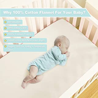 EMME 100% Cotton Flannel Crib Sheet, Ultra Soft Fitted Plush Toddler Sheets, Hypoallergenic Breathable Cozy, 28 x 52in Fit Standard Crib/Toddler Mattress (Cream)