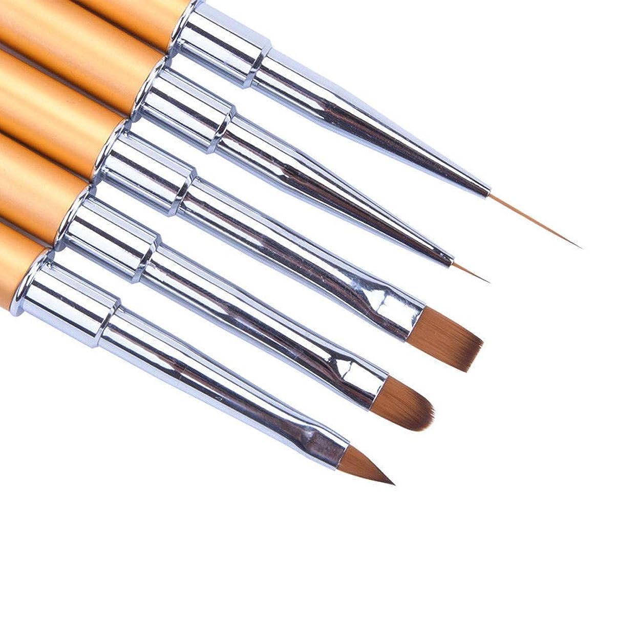 専制トラフィック接地FidgetGear 5本ネイルアート絵画デッサンライナーブラシセット用UVジェル&アクリルネイル