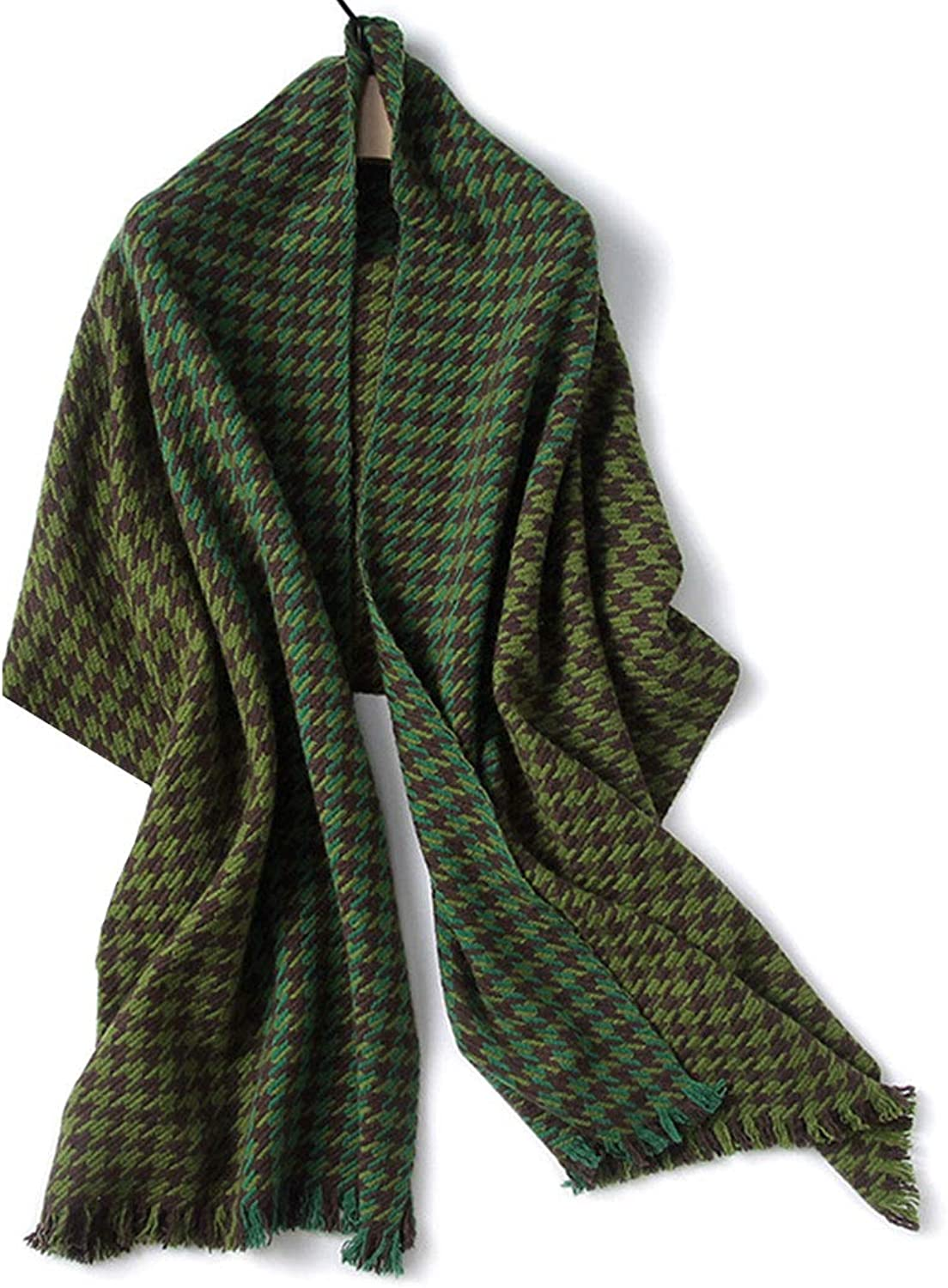 HUIFANG Female Autumn and Winter European and American Style Wool Shawl Thick Warm Wild Green Brown Houndstooth Scarf 60  200CM A (color   Green, Size   60  200CM)