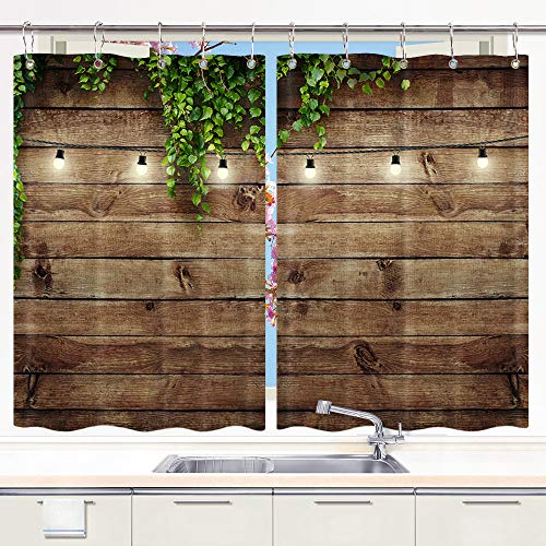 DYNH Vintage Wooden Board Kitchen Curtain, Green Leaves on Wood Window Curtain Panels, Waterproof Kitchen Curtains Drapes 10PCS Hooks 55X39 in Valance