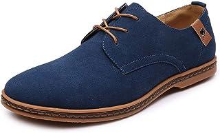riou Zapatos Casuales de Hombre con Cordones Zapatos de Negocios Zapatos Oxford Moda Cuero Sólido Sneakers Negro Azul Gris Blanco 38-48