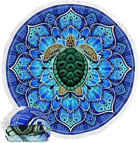 Mandala Turtle Round Beach Blanket