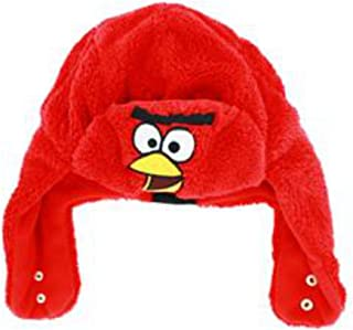 Angry Birds Mens Plush Red Lining Aviator Style Trapper Hat