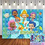 Cartoon Bubble Guppies Theme Photography Backdrop Ocean Bubble Children Princess Happy Birthday Party Decoration Photo Background Newborn Baby Shower Cake Table Studio Booth Banner 5x3ft