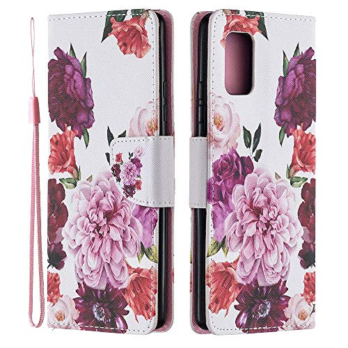 ISADENSER Case for Samsung Galaxy S20 FE 5G Case [Wallet Stand] Painting Design Flip Notebook PU Leather Case with Magnetic Close Card Slots Pouch Case for Samsung Galaxy S20 FE 5G Peony HX
