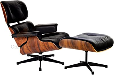 Amazon Com Mid Century Lux Leather Lounge Chair And Ottoman Black
