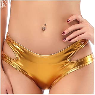 MOMOAAA Sexy Panties Low Waist Short Trousers Pu Patent Leather Hot Hollow Out Breathable Boxer Pole Dance Shorts