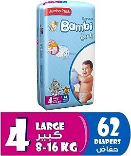 Sanita Bambi Baby Diapers Jumbo Pack Size 4, Large, 8-16 KG, 62 Count