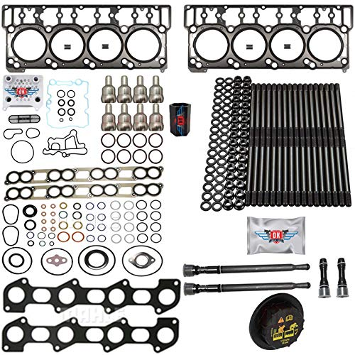 6.0L Revive #3 Kit w/Aftermarket Studs Head Gasket Oil Cooler Stand Pipe HP Cup Exhaust and Intake Gasket Sets - Fits Ford 6.0L 6.0 Powerstroke Kit - 03-05.5 (18MM Dowel) - DK Engine Parts (18-3R)