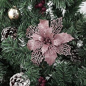 zorpia glitter artificial poinsettia flowers christmas wreath christmas tree flowers ornaments 6''(16cm) diameter with 12 pcs green soft stings,set of 12 (rose gold) silk flower arrangements