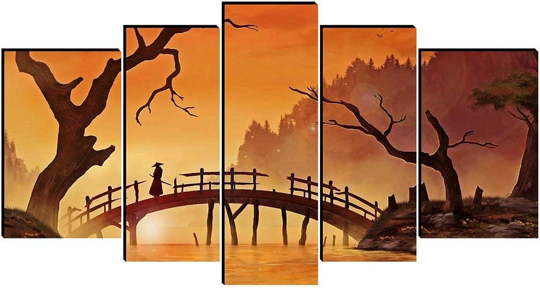 SmartWallArt - Figure Paintings Wall Art Bushido Spirit Illustration Japanese Warriors Samurai Standing On a Bridge Landscape Painting 5 Panel Picture Print on Canvas for Modern Home Decoration