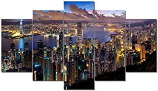 Leinwand 1Tlg Hong Kong schwarz weiß Skyline Bild Bilder Leinwandbild  9H067