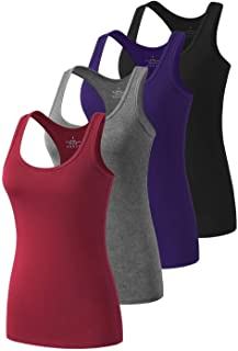 Racerback Workout Tank Tops for Women Basic Athletic Tanks Yoga Shirt Sleeveless Exercise Tops 4 Pack