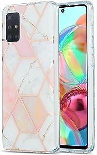 Lijc Compatible con Funda Samsung Galaxy A71 4G Galvanoplastia Mármol de Mosaico IMD de Doble Cara [Protector de Pantalla ...